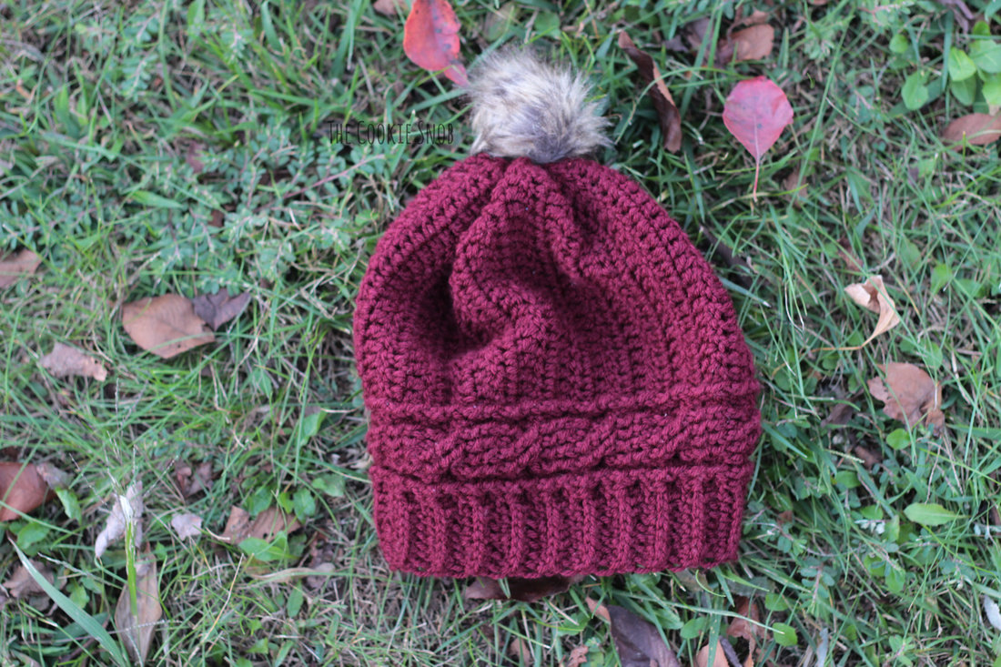 Cabled Crown Beanie Free Crochet Pattern